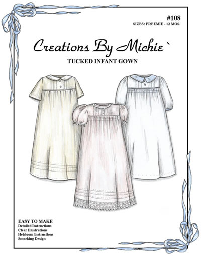 Tucked Infant Gown for Boy or Girl