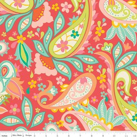 "Paisley - Red - 54"" width"