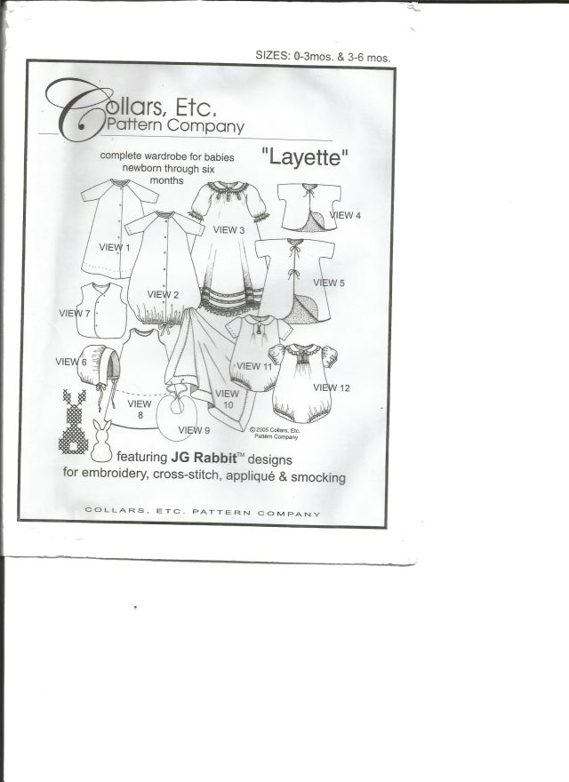 Collars Etc. Layette - Sizes 0-3 months and 3-6 months